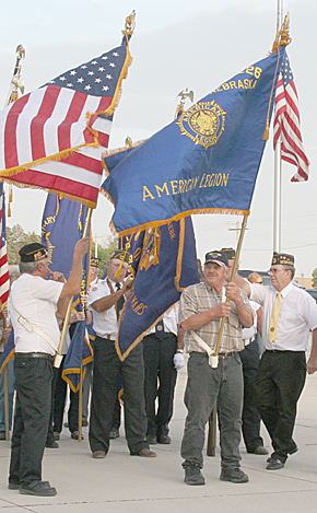 Boone County veterans prepare to lead the Patriot Walk at St. Edward on Sept. 11.