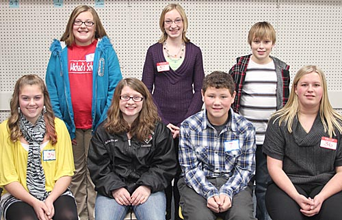 SPELLING FINALISTS -- Students competing in the final oral rounds of the Boone County Spelling Contest last Wednesday were (front, l. to r.) Tessa Hedlund, first place; Arizona Hager, second; and Trey Zoucha and Jaclyn Frey, who tied for third place. Back row: McKenna Book, fourth place; Olivia Groeteke, fifth, and Scott Wright, sixth.
