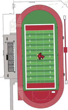 Site plan for Boone Central football field/track area.