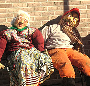 These two characters, outside the Legion Hall, capped off the afternoon of Punkin' Chunkin'.