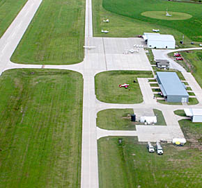 Overhead view of the Albion Municipal Airport.