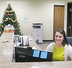 Office manager Kelly Benson in the new reception area at Grosch Irrigation.