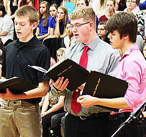 Men's section of the Boone Central Choir performs during the Choral Clinic.