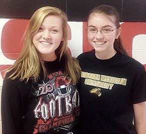 Dana Grape, l., and Megan Frerichs earned Outstanding Performance Honorable Mention awards.