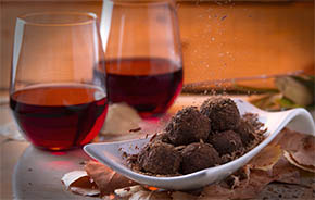 Wine and chocolate are two Valentine's Day favorites.
