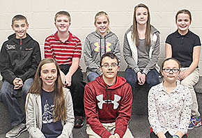 TOP SPELLERS -- The eight students earning top places in the oral rounds of the Boone County Spelling Contest were (front, l.-r.) Claire Weidner, St. Michael's, first; Blake Sherwood, Riverside, second, and Grace Tibor, St. Edward, third; (back) Dustin Andreasen, St. Edward, fourth; Zane Niemann, Boone Central, fifth; Neeley Greger, Riverside, sixth; and Kelsey Hupp, Riverside, and Rachel Malander, St. Michael's, tied for seventh.