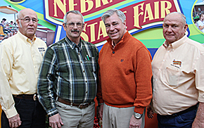 State Fair Executive Committee members elected for 2016 are (l.-r.) Chris Kircher, chairman; Chuck Rolf of Albion, vice chair; Marvin Rousey, secretary, and Lowell Minert, treasurer.