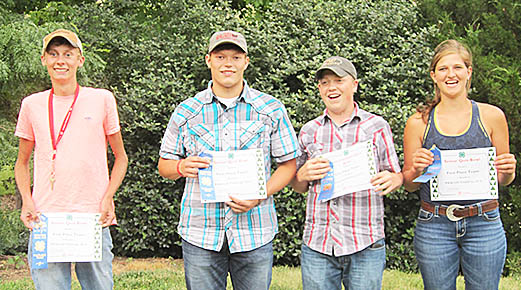 Boone County's champion 4-H Livestock Quiz Bowl team of (l.-r.) Payton Beierman, Dalton Wagner, Brody Voichoski and Fina Choat.
