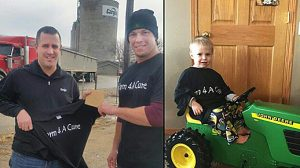GIVING BACK -- Farm 4 A Cure donated last fall to assist Colin Petersen of Albion (right)with his heart illness and transplant. In the left phot, Donny Baker (right) is presenting a donation to Colin's father, Jon.