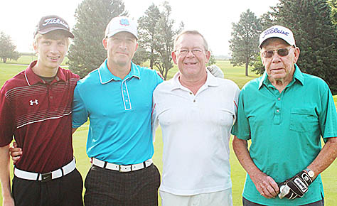 FOUR GENERATION TEAM -- Bill Spiegel (right) had a four-generation team in the Dave Spiegel Memorial Tournament. They included, l.-r., Zach and Jared Spiegel, both of Columbus, and Bill's son, Jim Spiegel of Kearney.