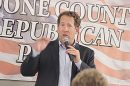 Third District Congressman Adrian Smith makes a point during the Boone County Republican Rally.
