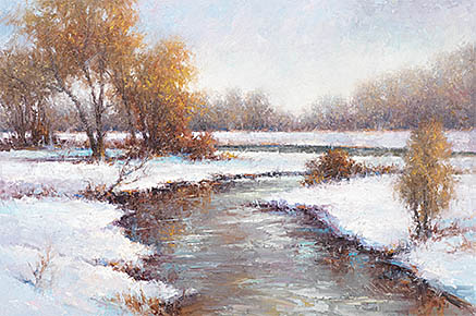 This winter scene of the Olson Nature Preserve and Beaver River in Boone County is part of the Nebraska Legacy series painted by Todd A. Williams.