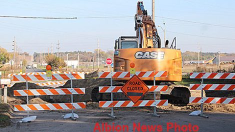 Construction equipment currently blocking Fairview Street in Albion.