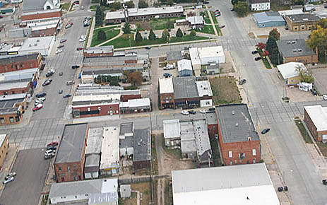 Aerial view of downtown Albion.