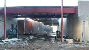 Inside the Boone Central School addition project, workers are installing structural steel in the north area, which will include the commons area and kitchen. Concrete floors had not yet been poured when this photo was taken.