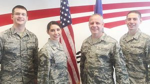 Special guests at the promotion ceremony of SMSGT Megan Zuver were her family members, (l.-r.) husband SSgt Kevin Zuver, SMSGT Megan Zuver, her father SMSGT Raymond Dozler, and Megan's brother, A1C Dustin Dozler.