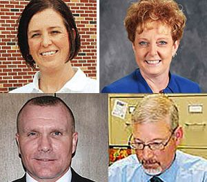 Superintendent finalists to be interviewed by the Boone Central School Board this Thursday and Friday are (clockwise from upper left) Nicole Hardwick, Ginger Meyer, Todd Rhodes and Jeffrey Sumy.