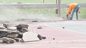 Demolition work for new multi-purpose courts at the Albion Sports Complex.