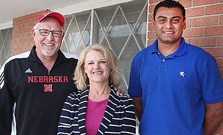"""NEW OWNERSHIP -- Randy Christo (l.-r.), his fiance Janet Smith, and property manager Gaurang """"G"""" Kalabhai announced Christo's purhase of the former Dunes Motel."""