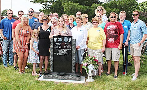 Smoyer family at the courthouse monument.