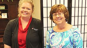 Heather Rankin, left, and Lisa Skillstad at the Creative Window Designs and Thrivent Financial offices.