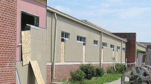 Exterior windows and panels were being completed on the elementary wing this week.