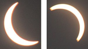 Two views from Albion show the eclipse in its early stages (left) and later stages (right).