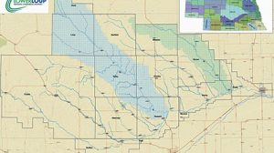 Land in the North Loup River and Beaver Creek Sub-Basins (blue and green shaded areas) is eligible to apply for new irrigation development.