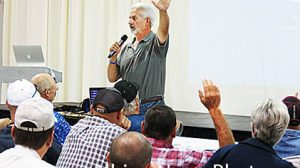 Ray Archuleta addresses his Boone County audience Wednesday morning.