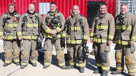 1,000 DEGREE CLUB -- Albion firemen who were in the structure when ceiling temperature reached 1,000 degrees on Saturday were (l.-r.) Cole Frey, Bruce Benne, Jason Borer, Ben Edwards, Michael Schriver and Kyle Larson.