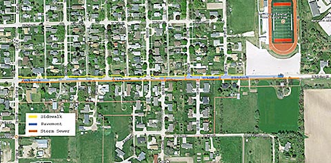 Colored lines on this site map show locations for sewer, paving replacement and sidewalk on Fairview Street.