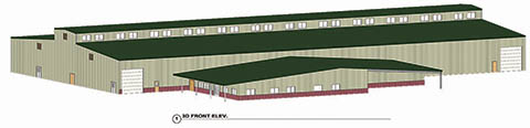 Front elevation of the proposed new fairgrounds building.