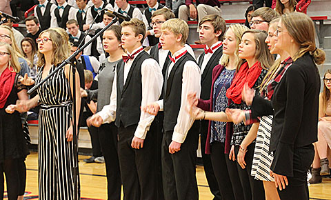 Boone Central jazz choir performs during the choral clinic Monday night.