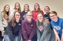 FCCLA members competing in districts were (front, l.-r.) Destiny Umbarger, Rileigh Mapel, Emily Kelley, Hailey Schademann; (back) Brooke Groth, Erin Reynoldson, Maggie Cleveland, April Johnson, Halie Andreasen.