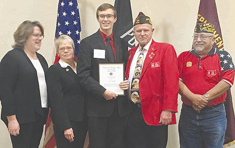 STATE RUNNER-UP -- Scott Wright, center, with state VFW officials after receiving his second place award in the Nebraska Voice of Democracy.