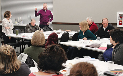 VISIONING SESSION -- Jeff Yost of the Nebraska Community Foundation addresses those attending the childcare visioning session last week.